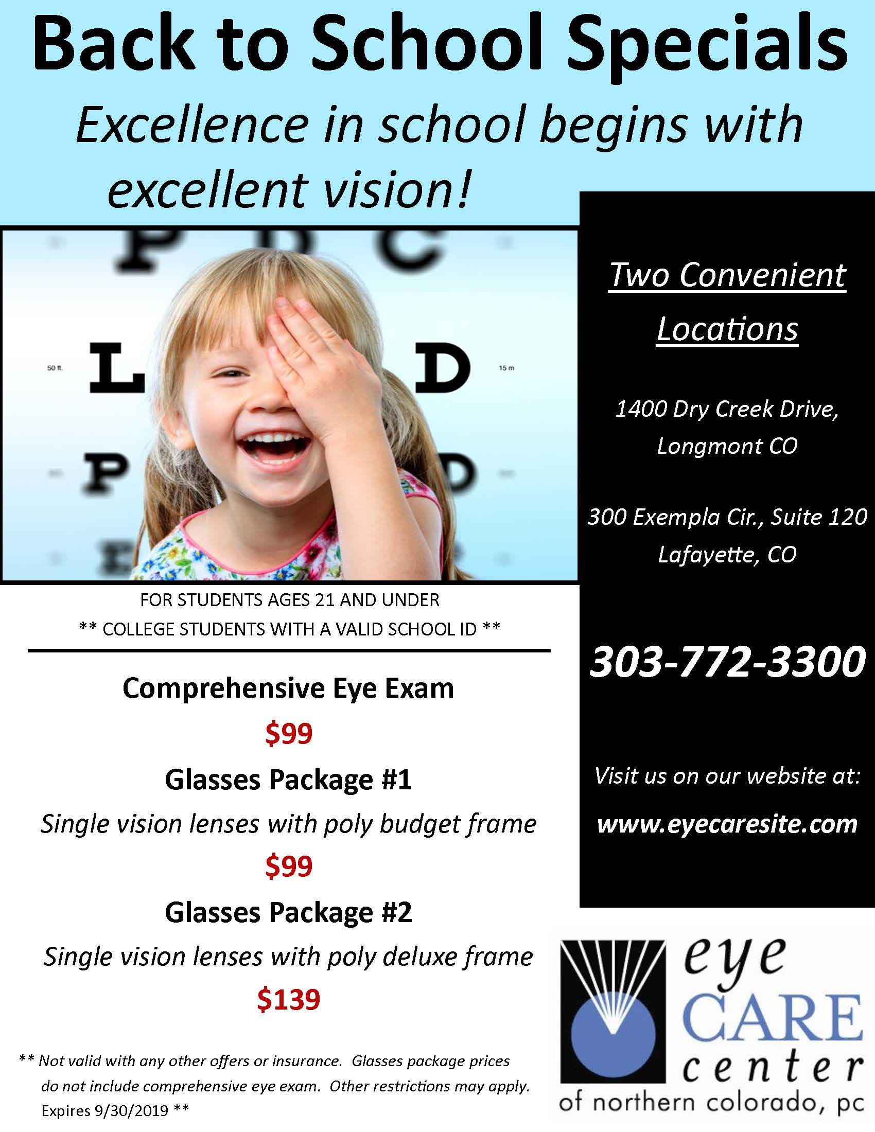 Boulder Eye Care & Surgery Center Doctors Back to School 2019 - Home